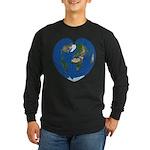World Map Heart: Long Sleeve Dark T-Shirt