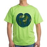 World Map Heart: Green T-Shirt