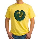 World Map Heart: Yellow T-Shirt