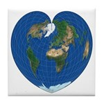 World Map Heart: Tile Coaster