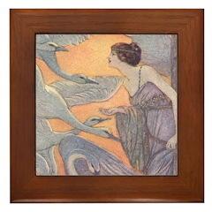 Abbott's Six Swans Framed Tile