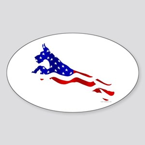 Great Dane Jumper Flag Sticker (Oval)