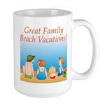 Family On Beach Large Mug