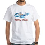 Family On Airplane White T-Shirt