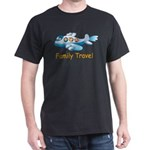 Family On Airplane Black T-Shirt