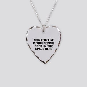 Customize Four Line Text Necklace Heart Charm