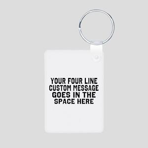 Customize Four Line Text Aluminum Photo Keychain