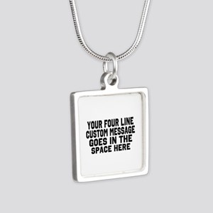 Customize Four Line Text Silver Square Necklace
