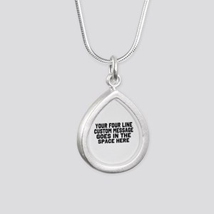 Customize Four Line Text Silver Teardrop Necklace
