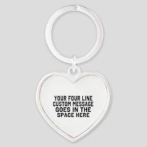 Customize Four Line Text Heart Keychain