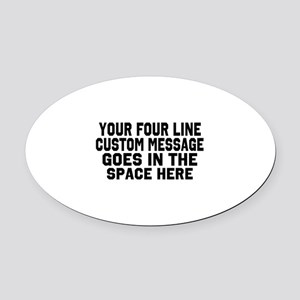 Customize Four Line Text Oval Car Magnet