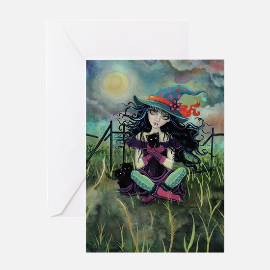 Kitten Witch Halloween Greeting Card