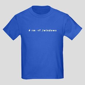 # rm -rf /windows - Kids Dark T-Shirt