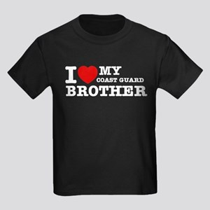 I love My Coast Guard Brother Kids Dark T-Shirt