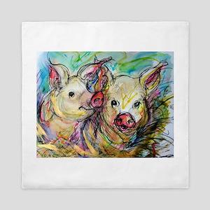 Pigs! bright pig art! Queen Duvet