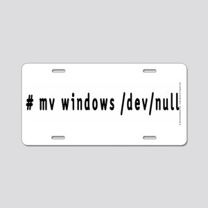 # mv windows /dev/null - Aluminum License Plate