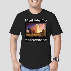 Mail Me To Yellowstone Men's Fitted T-Shirt (dark)