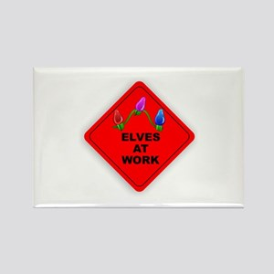 CAUTION Elves At Work Rectangle Magnet