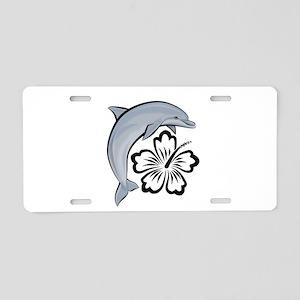Dolphin Hibiscus Aluminum License Plate