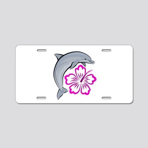 Dolphin Hibiscus Pink Aluminum License Plate