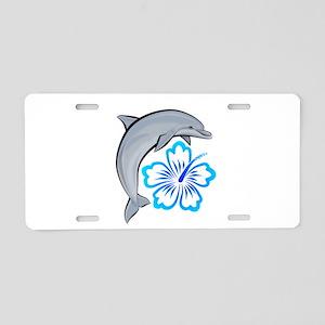 Dolphin Hibiscus Blue Aluminum License Plate