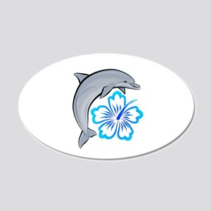 Dolphin Hibiscus Blue 22x14 Oval Wall Peel