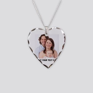 Photo Text Personalized Necklace Heart Charm