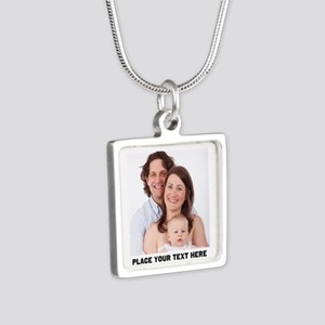 Photo Text Personalized Silver Square Necklace