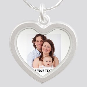Photo Text Personalized Silver Heart Necklace