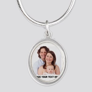 Photo Text Personalized Silver Oval Necklace