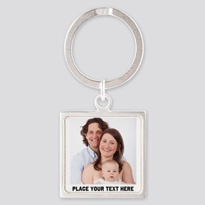 Photo Text Personalized Square Keychain