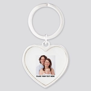 Photo Text Personalized Heart Keychain