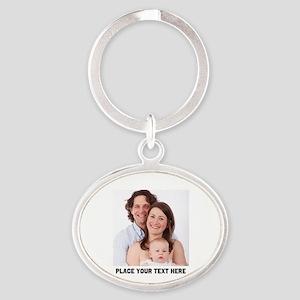 Photo Text Personalized Oval Keychain