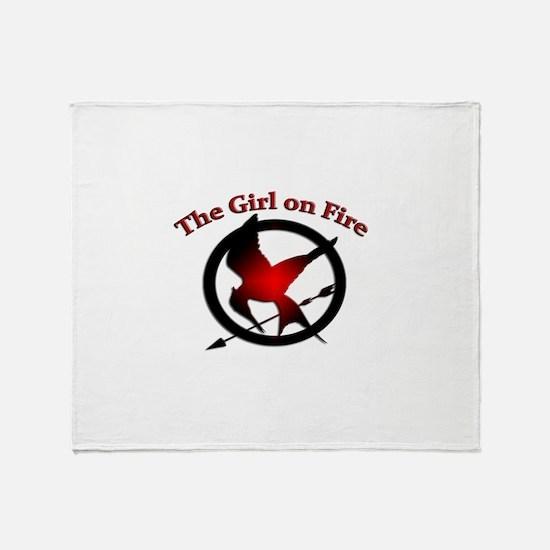 Girl on Fire Throw Blanket