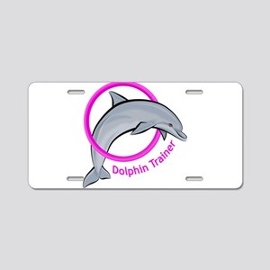 Dolphin Trainer Pink Aluminum License Plate