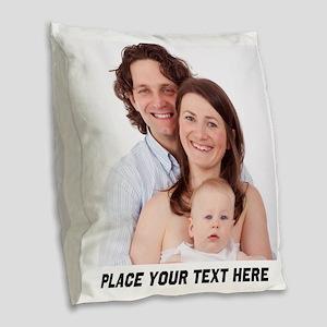 Photo Text Personalized Burlap Throw Pillow
