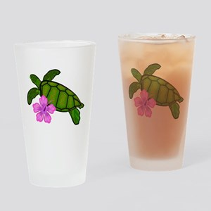 Colored Sea Turtle Hibiscus Drinking Glass