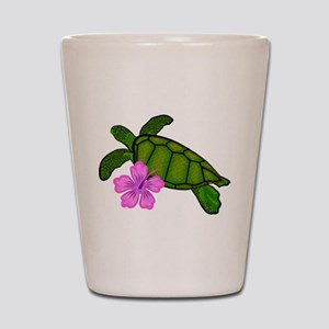 Colored Sea Turtle Hibiscus Shot Glass