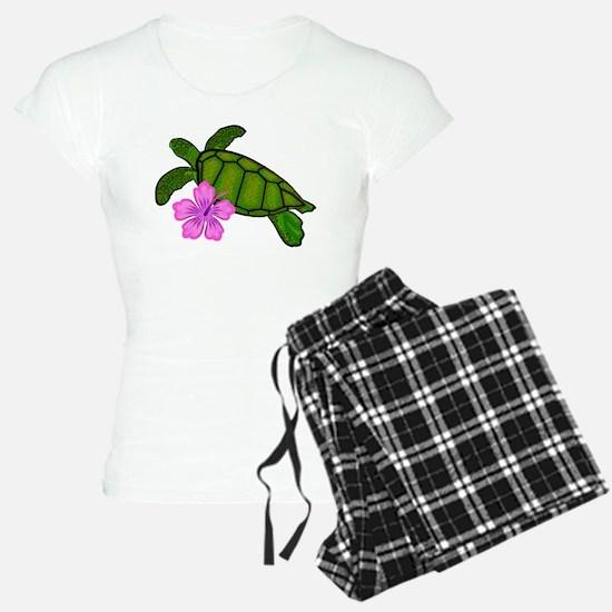 Colored Sea Turtle Hibiscus Pajamas
