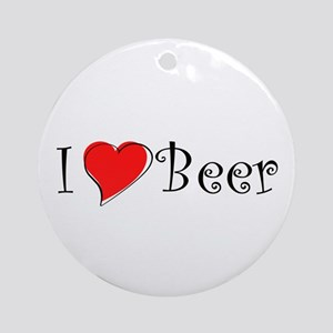 I Love Beer Ornament (Round)