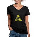 Vintage Bio-Hazard 3 Women's V-Neck Dark T-Shirt