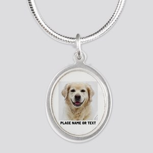 Dog Photo Customized Silver Oval Necklace