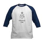 Keep Calm and Paddle On Kids Baseball Jersey