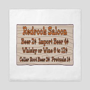 Old West Signs Redrock Saloon Queen Duvet