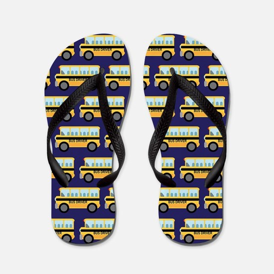 School Bus Driver Navy Flip Flops
