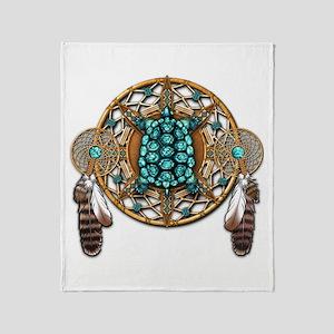 Turquoise Tortoise Dreamcatcher Throw Blanket