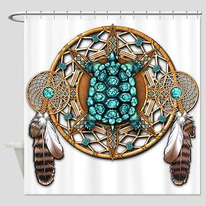 Turquoise Tortoise Dreamcatcher Shower Curtain