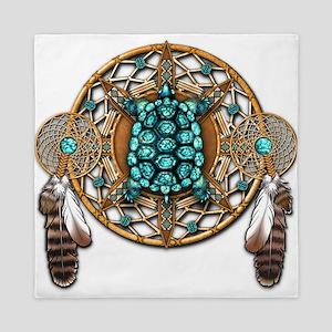 Turquoise Tortoise Dreamcatcher Queen Duvet