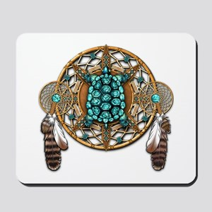 Turquoise Tortoise Dreamcatcher Mousepad