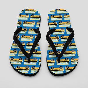 2nd Grade School Bus Blue Flip Flops